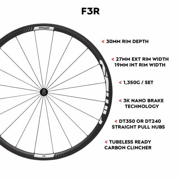 FFWD Wheels F3R 30mm Tubeless Ready Carbon Clincher Carbon Cycling Wheels